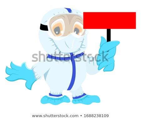 Owl doctor in protective medical suit holds red board coronavirus. Danger quarantine corona virus co Stock photo © orensila