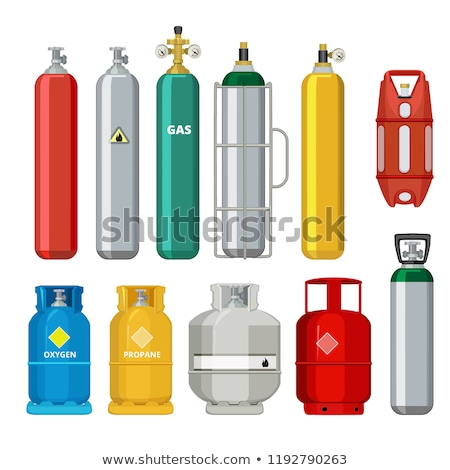 Set of vector gas cylinder. Safety fuel tank of helium butane acetylene Stock photo © robuart