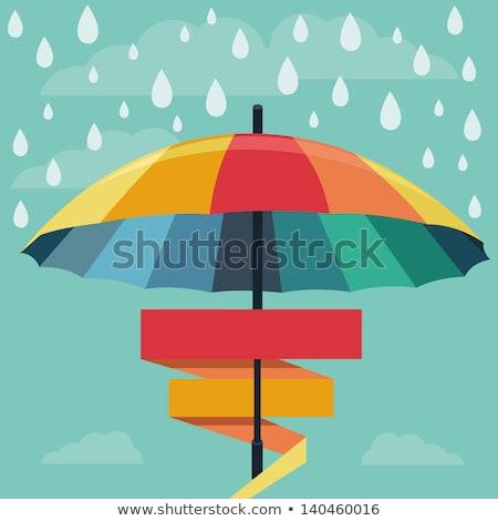 Yağmur şemsiye çerçeve arka plan yaz fırtına Stok fotoğraf © ShustrikS