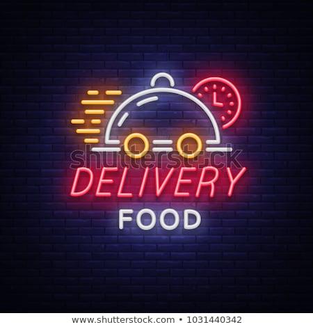 Gıda teslim neon afişler çevrimiçi sipariş Stok fotoğraf © Anna_leni