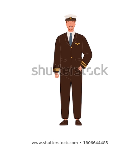 Smiling civilian aircraft pilot, aircrew captain, aviator or airman dressed in uniform with briefcas Stock photo © designer_things