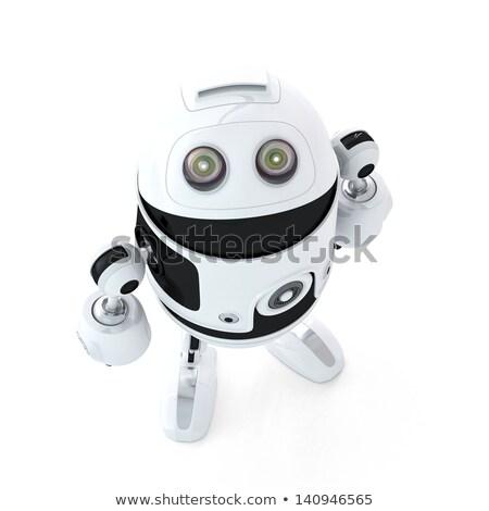 Humanoid robot looks up. 3d illustration. Stock photo © limbi007
