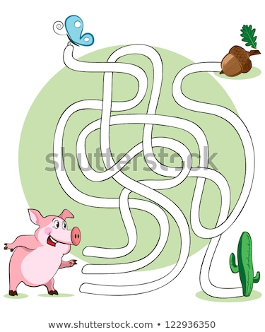 Labyrinthe jeu cartoon porc illustration Photo stock © izakowski