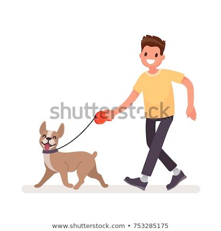 Man lopen hond riem geïsoleerd karakter Stockfoto © robuart