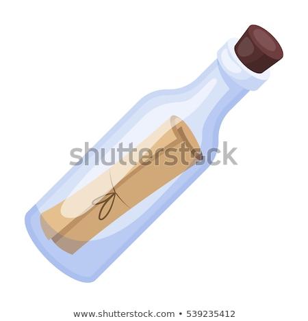 bericht · fles · sos · geïsoleerd · witte · ontwerp - stockfoto © mayboro