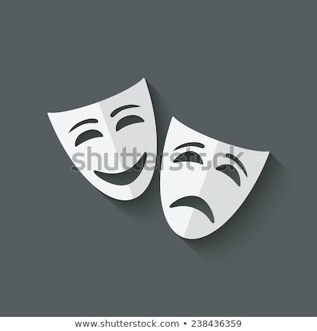 Szczęśliwy dramat maska ilustracja biały twarz Zdjęcia stock © get4net