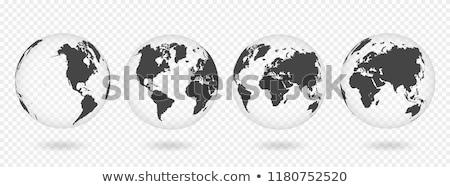 Világtérkép izolált fehér absztrakt Föld háló Stock fotó © X-etra