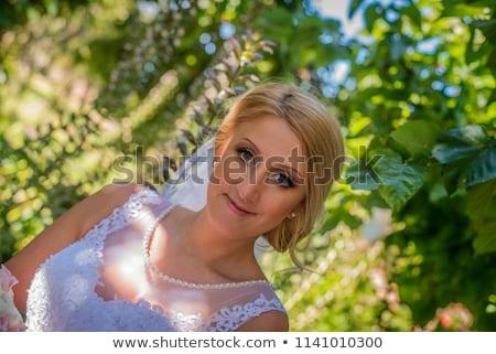 fiatal · nő · visel · tavasz · ruha · virágok · arc - stock fotó © hasloo