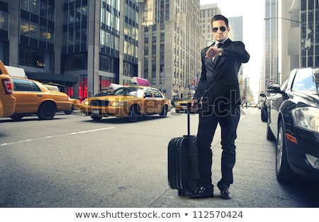 бородатый · молодые · бизнесмен · газета · портфель · бизнеса - Сток-фото © photography33