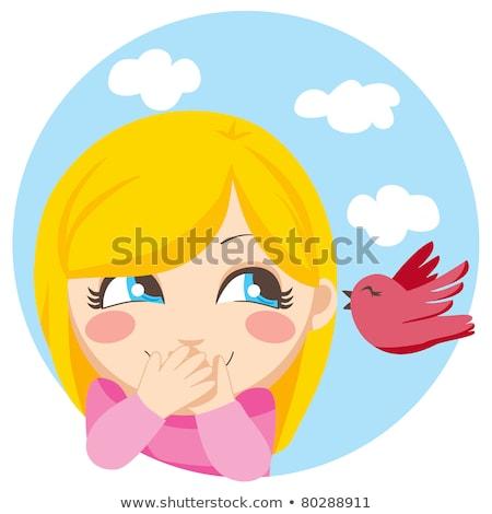 Stock fotó: Aranyos · fiatal · lány · beszél · kicsi · madár · természet