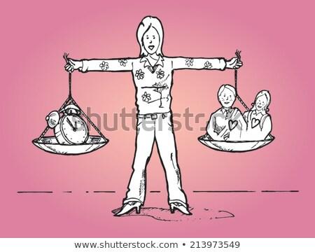 Businesswoman juggling clocks. Time Juggling Act. Stock photo © REDPIXEL