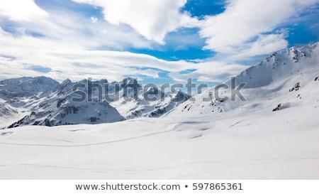 hegy · gyönyörű · hó · fedett · égbolt · természet - stock fotó © pumujcl
