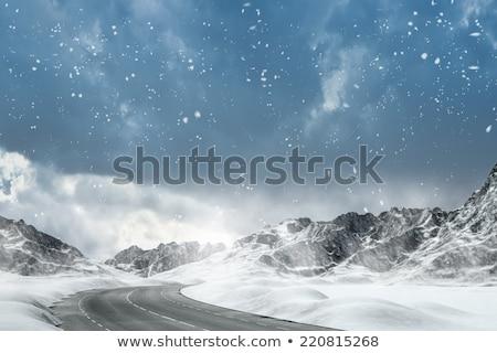 冬 風景 車 道路 自然 デザイン ストックフォト © malexandric