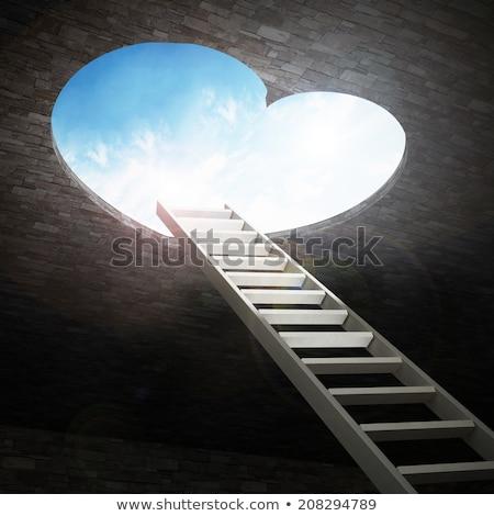 Gat ladder 3d illustration abstract hart steen Stockfoto © drizzd