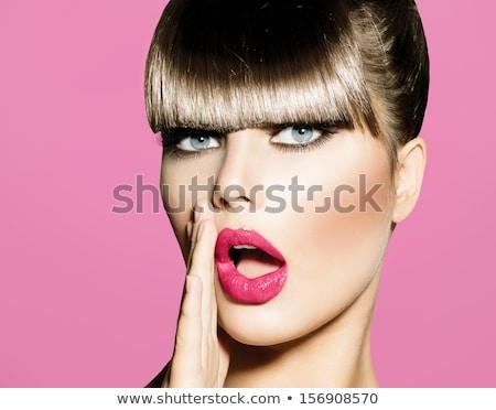 Güzel esmer kadın pembe dudaklar yalıtılmış beyaz Stok fotoğraf © juniart