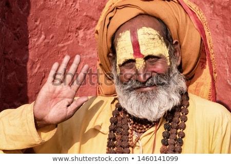 Santuário Nepal ouro olhos azul bandeira Foto stock © THP