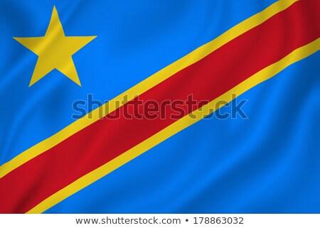 Kumaş doku bayrak cumhuriyet Kongo mavi Stok fotoğraf © maxmitzu
