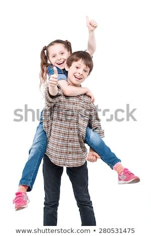 sorridente · menino · polegar · para · cima · isolado - foto stock © meinzahn