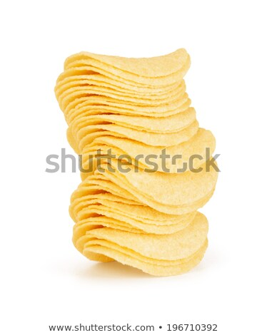Stock photo: potato chips satacked over white background