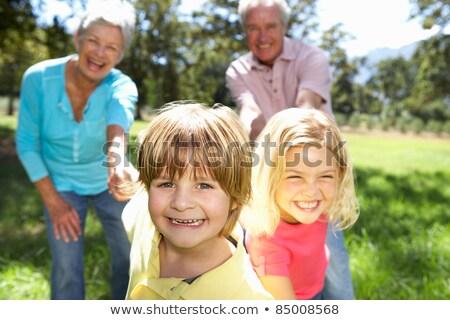 Dziewczyna śmiechem babcia długo trawy kłamać Zdjęcia stock © sdenness