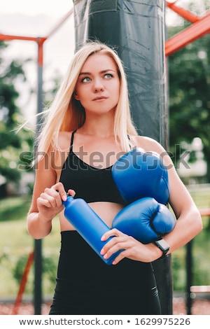 ストックフォト: スポーティー · ブロンド · 女性 · ポーズ · 水筒 · 白