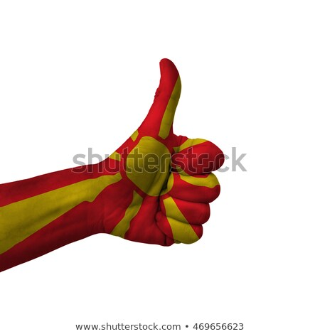 macedonia national flag thumb up gesture for excellence and achi Stock photo © vepar5