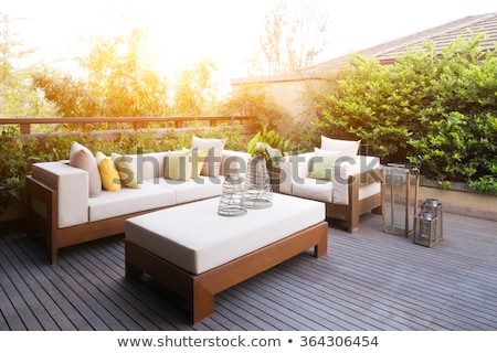 luxe · patio · maison · herbe · bois - photo stock © kirill_m