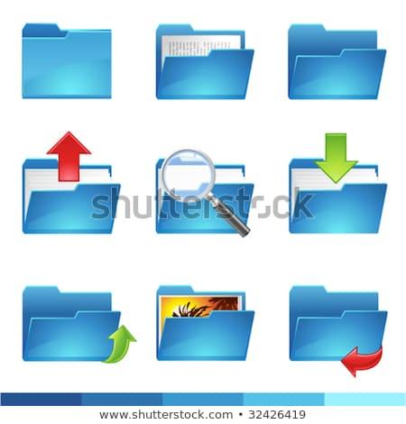 establecer · azul · carpetas · oficina · trabajo · fondo - foto stock © tashatuvango