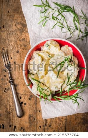 krém · burgonyasaláta · csíkok · sonka · mártás · fa - stock fotó © meinzahn