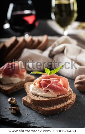 Toasted cheese and ham sandwiches with chives Stock photo © raphotos