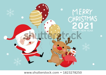 Christmas decoration with greeting card isolated on white backgr Stock photo © natika