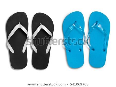 Fekete papucs pár lezser divat tárgy Stock fotó © dezign56