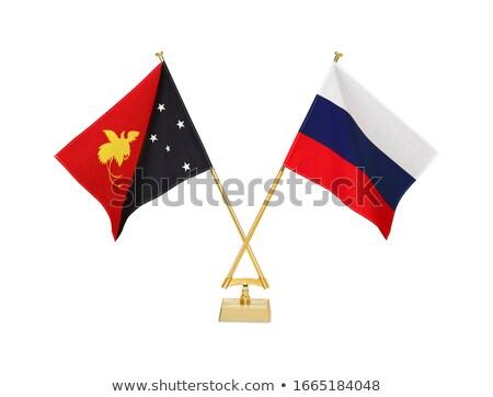 Россия Папуа-Новая Гвинея миниатюрный флагами изолированный белый Сток-фото © tashatuvango