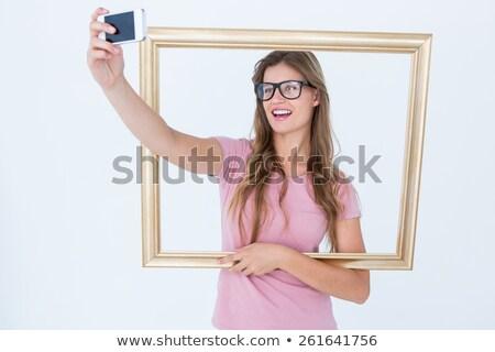 donna · cornice · bianco · legno · moda · bellezza - foto d'archivio © wavebreak_media