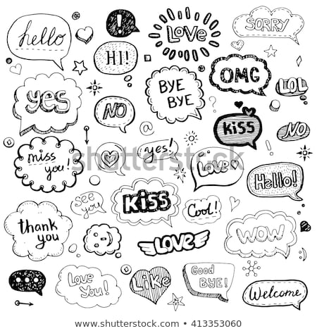 rajz · vektor · kézzel · rajzolt · firka · szeretet · illusztráció - stock fotó © pakete