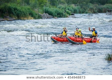 Hijo de padre rafting ilustración familia deporte río Foto stock © adrenalina