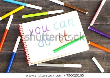 Tak puszka drewniany stół słowo biuro szkoły Zdjęcia stock © fuzzbones0