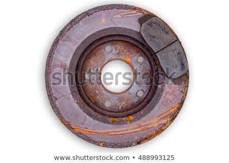 Old scored rusty brake rotor and pads Stock photo © ozgur