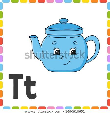 T betű teáskanna illusztráció gyerekek gyermek háttér Stock fotó © bluering