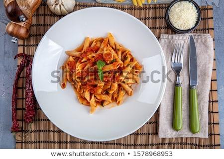 domates · sosu · fesleğen · gıda · makarna · çatal · domates - stok fotoğraf © vertmedia