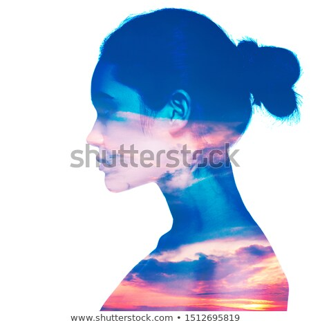 People silhouette on colorful sunset Stock photo © xbrchx