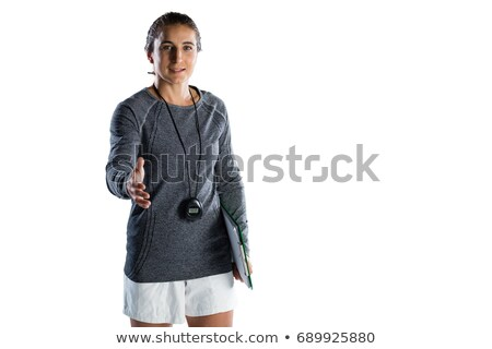 mujer · mano · fuera · apretón · de · manos · oficina - foto stock © wavebreak_media