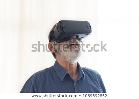 hombre · mentiras · sofá · virtual · realidad - foto stock © chesterf
