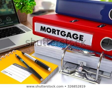 rouge · anneau · hypothèque · travail · table - photo stock © tashatuvango