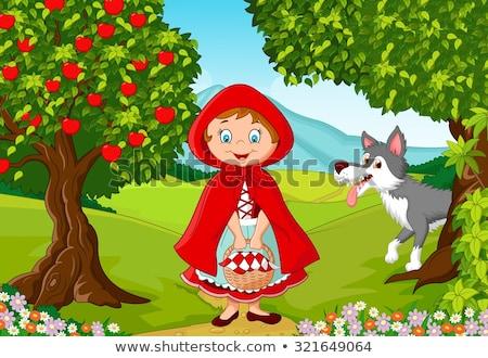 küçük · kırmızı · binicilik · karikatür · sahne - stok fotoğraf © krisdog