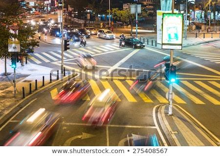 Foto stock: Verde · luz · verde · semáforo · blue · sky · céu · rua