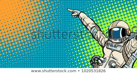 женщины астронавт вверх копия пространства Поп-арт ретро Сток-фото © studiostoks