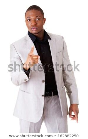 Afryki człowiek biznesu stop gest strony Zdjęcia stock © NikoDzhi