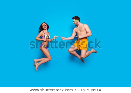 Portret radosny młoda kobieta strój kąpielowy koktajl Zdjęcia stock © deandrobot