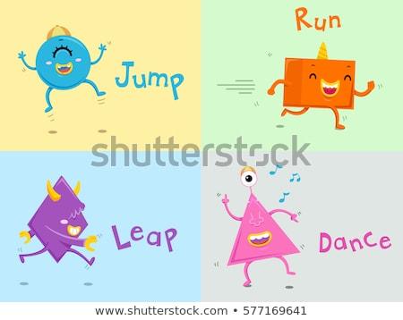Cute Monster Maßnahmen Worte Illustration farbenreich Stock foto © lenm
